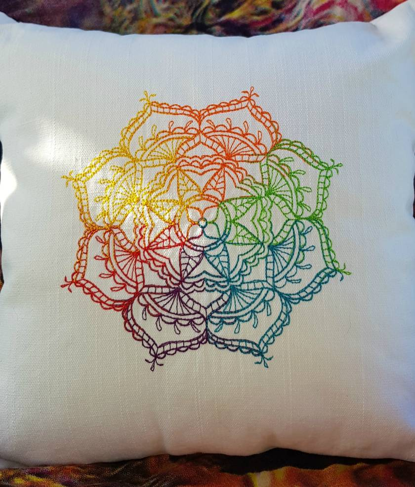 Mandala Embroidered Cushion Cover