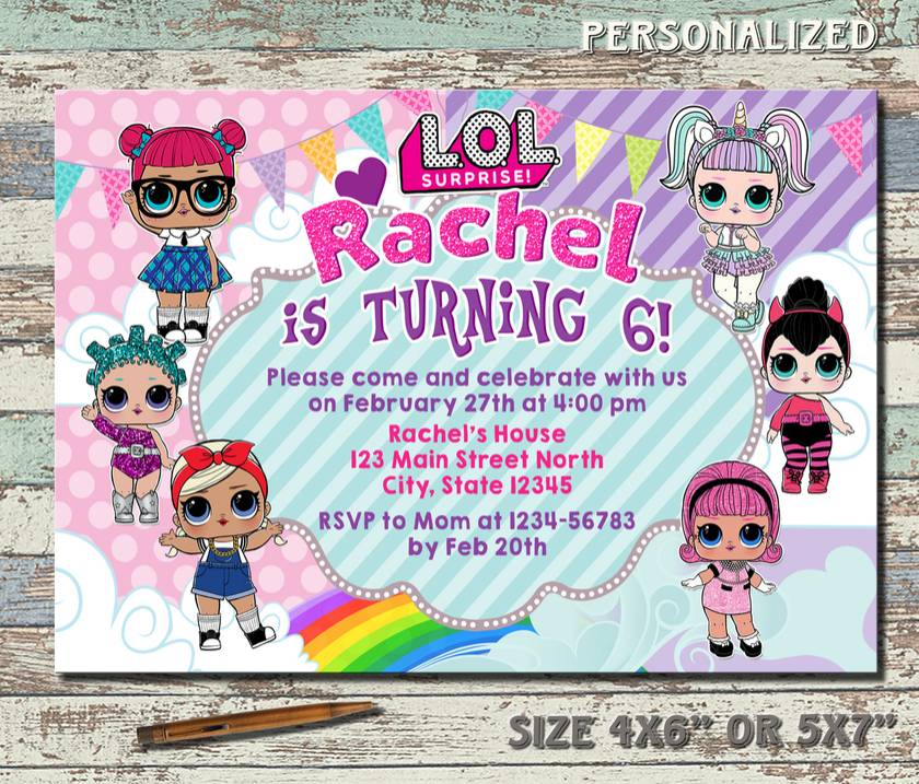Birthday Invitations Lol Doll Surprise Card