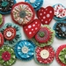 Wool and fabric brooches