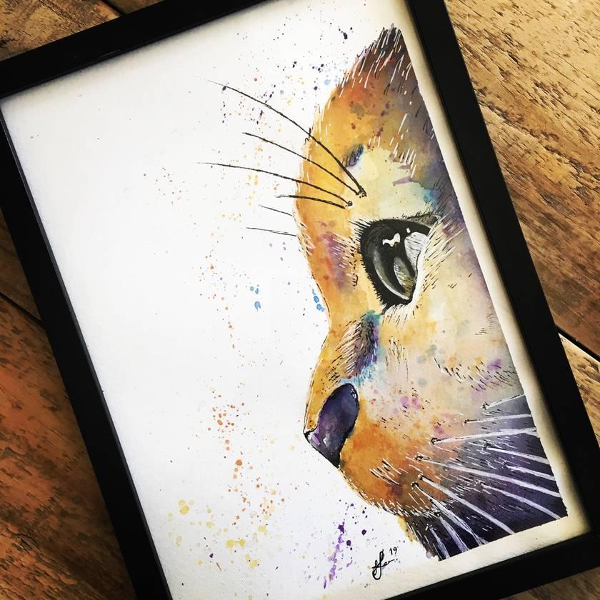 Watercolour cat artwork A4