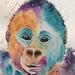 Original baby Gorilla watercolour painting