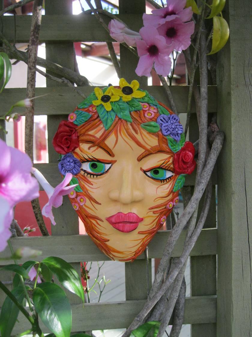 Colourful Pottery Garden Art Mask.