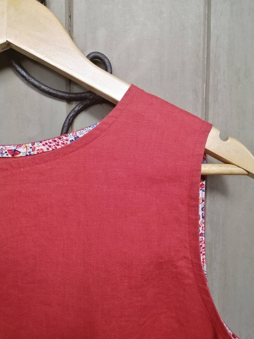 REDUCED - 40% OFF Linen singlet with liberty cotton trim