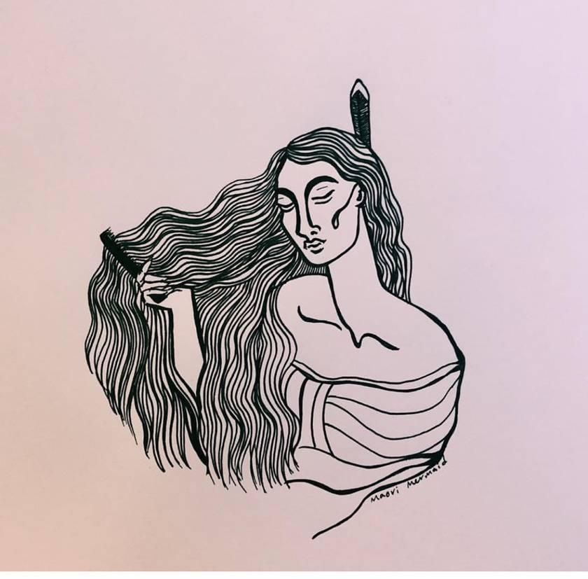 Wāhine Combing Hair A4