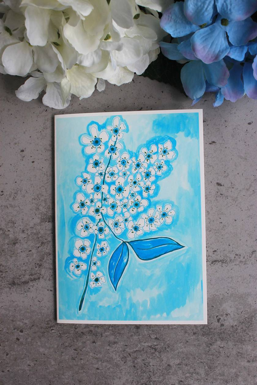 Set of 2 Fine Art Blue Floral Greeting Cards