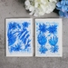 Set of 2 Fine Art Abstract Blue Flower Greeting Cards
