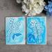 Set of 2 Fine Art Blue Floral Greeting Cards