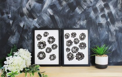Black and White Flowers Art Print Set of 2 - Size A3