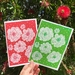 Christmas Cards Set of 2 Red & Green Flowers