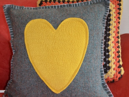 Upcycled woolen cushion