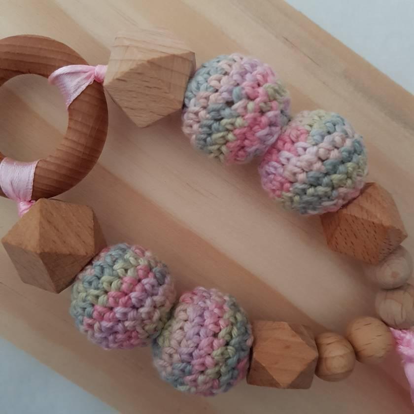 Crochet bead fish teething ring