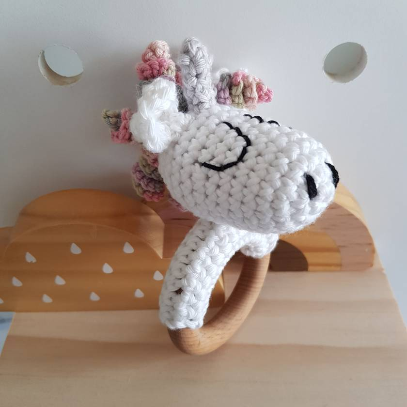 Crochet Unicorn teething rattle