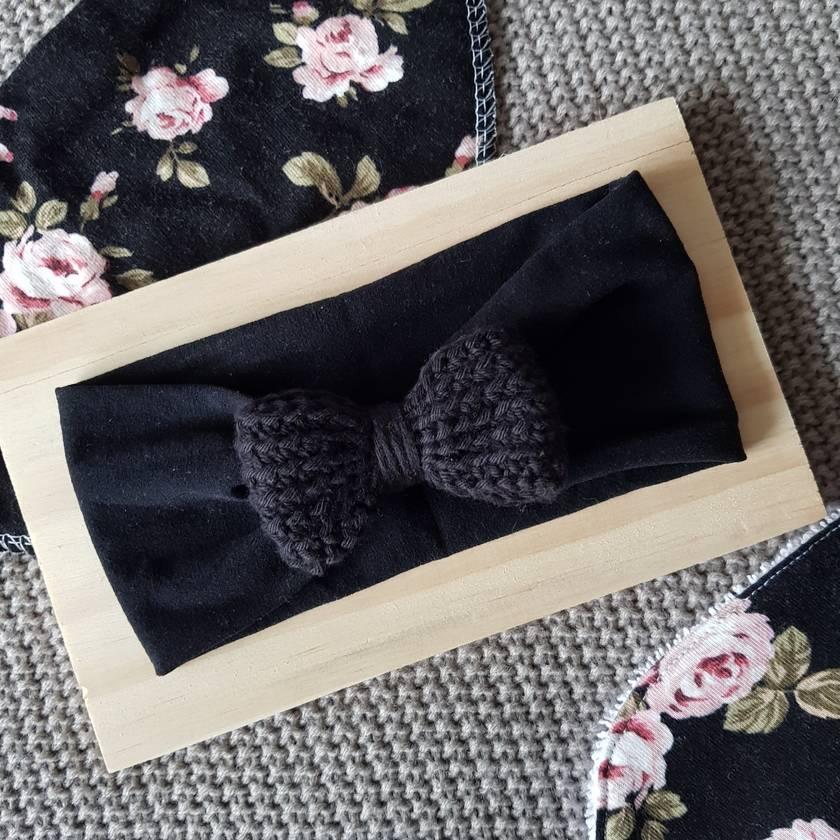 Crochet bow wide headband (black)