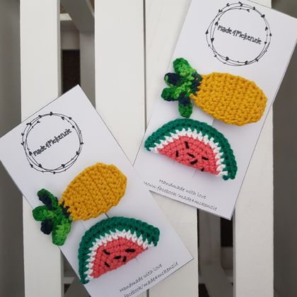 Crochet pineapple and watermelon hair clips