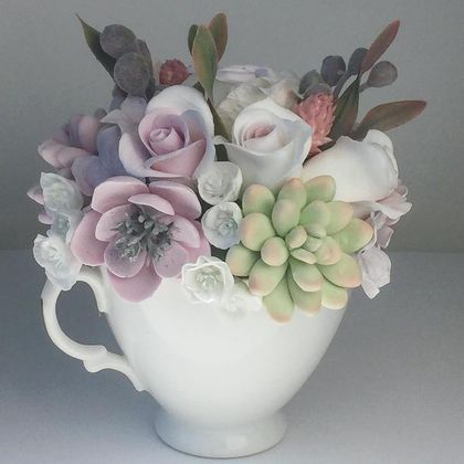 Tea cup with flowers