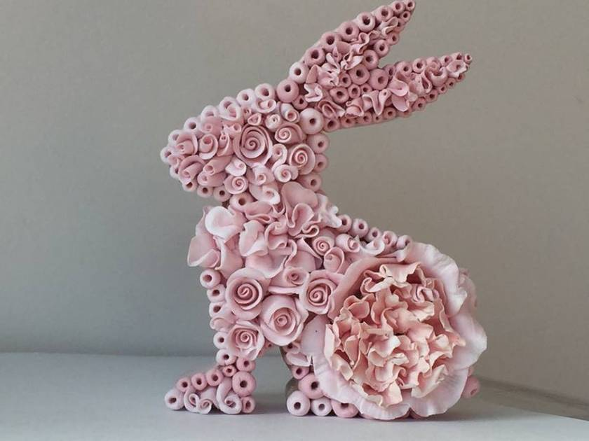 Easter bunny - wood and polymer clay flowers