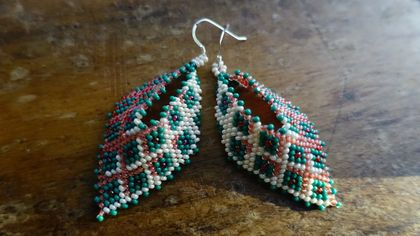 Tesselated Russian Leaf Earrings, Teal and Pink