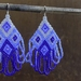 Variegated Blue Diamond-Shaped Earrings with Fringe