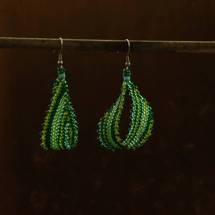 Green striped, assymetrical loop Earrings