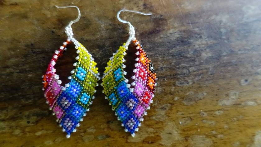 Rainbow Russian Leaf Earrings