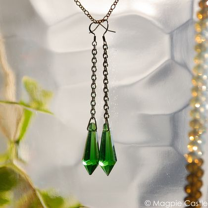 Green Crystal Icicle Drop Earrings