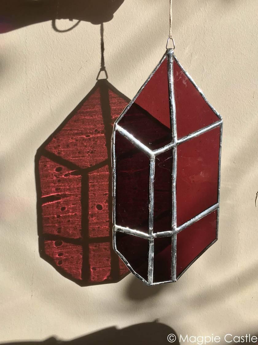 Dark purple crystal stained glass hanging