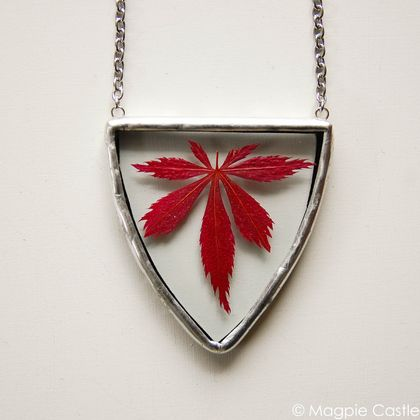 Pressed Japanese Maple in Glass - Necklace