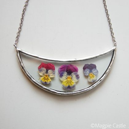 Pressed Pansies in Glass -  Necklace