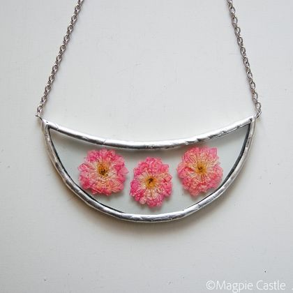 Pressed pink blossoms in Glass -  Necklace