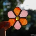 Glass flower - pink & orange
