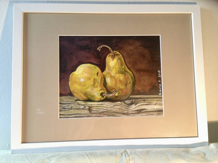 Pears on driftwood