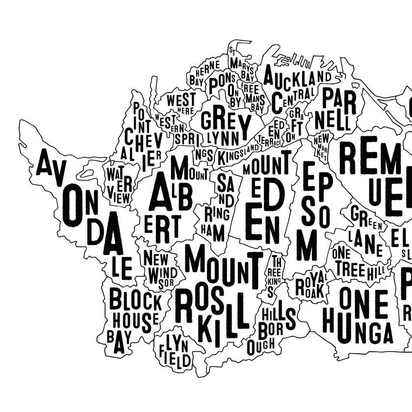 Auckland Map - A3 Art Print
