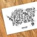 Auckland Map - A4 Art Print