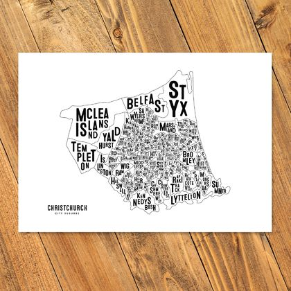 Christchurch City Map - A3 Art Print