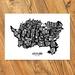 Auckland Map - A3 Art Print (BW)