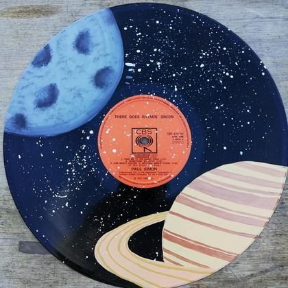 Hand Painted Saturn and Moon Vinyl Record