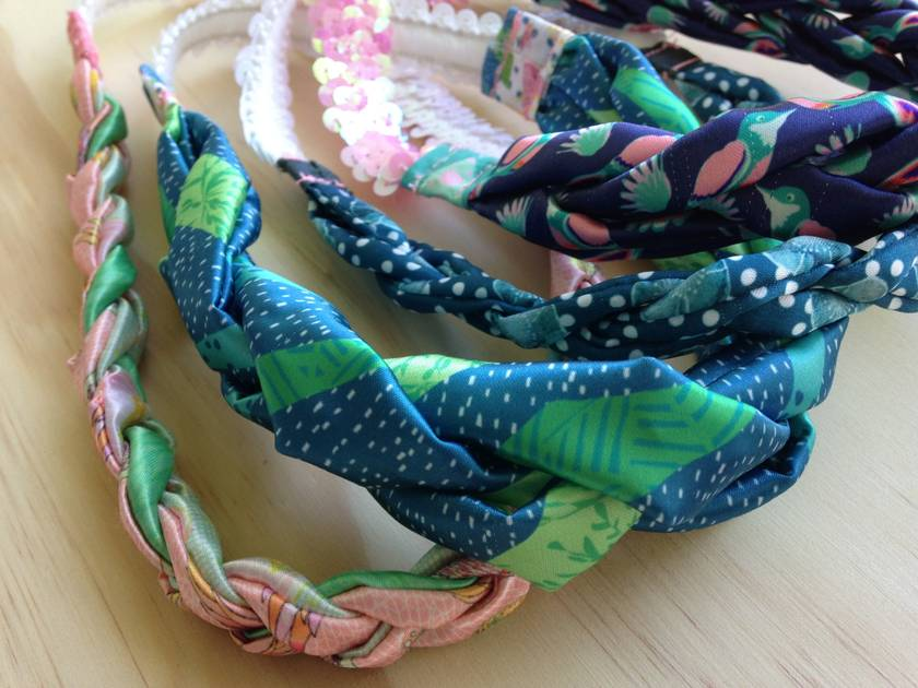 Handmade satin hairband made from textiles designed by Sandee Hjorth