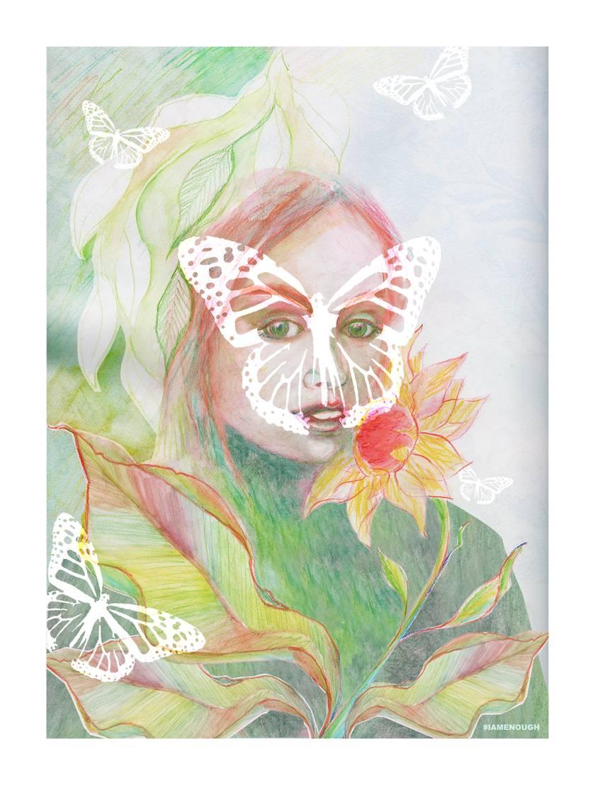 Hearts & Butterflies - Fine Art Giclee Print A4