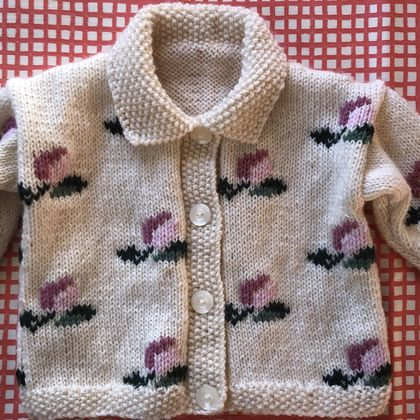 Roses Have Buds Cardigan - hand knitted