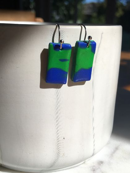 Blue green rectangle earrings