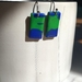 Blue green rectangle earrings
