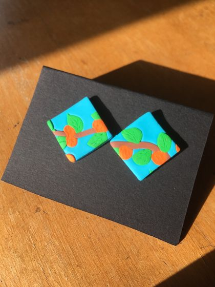 Orange tree square earrings