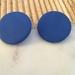 Large blue circle stud earrings