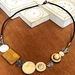 Statement necklace, mother-of-pearl and leather cord