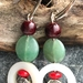 Boho colourful earring, gemstones and mother-of-pearl