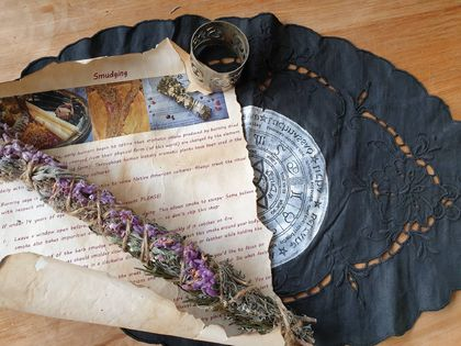 Sage, lavendar & rosemary smudge with altar clothe
