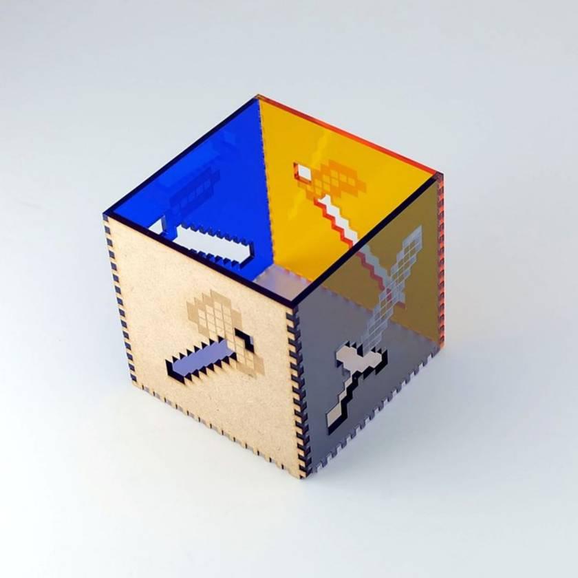 Minecraft Tools Acrylic Cube Pen Pot