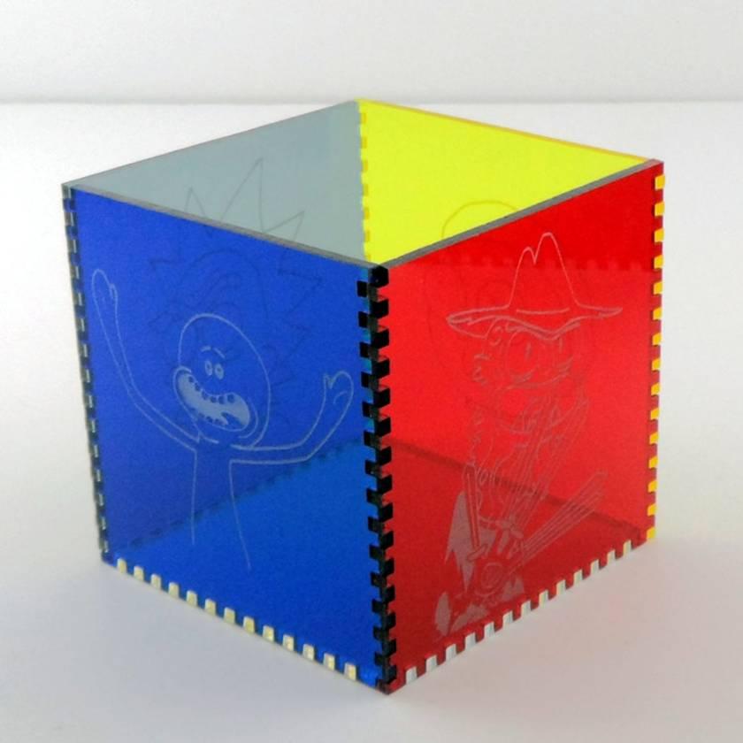 Rick and Morty Acrylic Cube Pen Pot