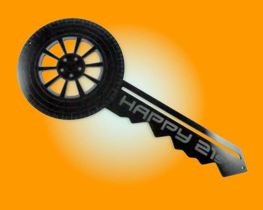 21st Key Car Wheel Black Acrylic