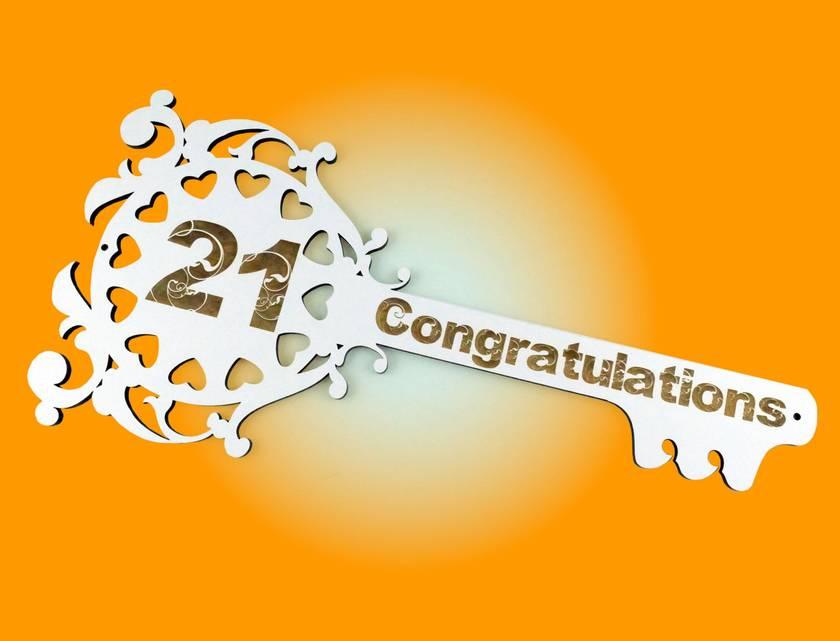 21st Key Congratulations White Melteca